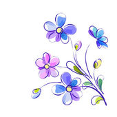 Flores violetas — Vector de stock