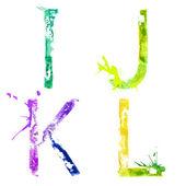 Alfabeto lettere i, j, k, l — Vettoriale Stock