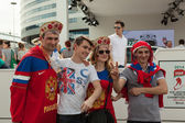 The hockey fans from Russia — Stock Photo