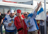 The hockey fans from Russia and Finland — Stock Photo