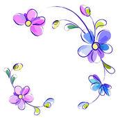 Fondo blanco con flores — Vector de stock