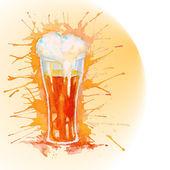 Watercolor glass of beer — Stock Vector