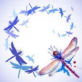 Voando roxas aquarela libélulas — Vetor de Stock