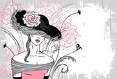 Lady in hat with flower — Vector de stock