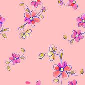Wzór różowy z kwiatami — Wektor stockowy