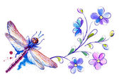 Dragonfly and flowers — Stock Vector
