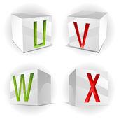 Cube alphabet letters U,V,W,X — 图库矢量图片