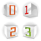 Cube alphabet numbers 0,1,2,3 — Stock Vector