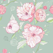 Seamless pastel colored pattern with peony flowers — Stock Vector