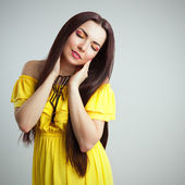 Beautiful Romantic Girl in Yellow Dress — Stock Photo