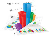3D Bar Chart — Stock Vector