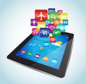Tablet Apps — Stock Vector