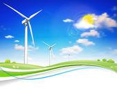 Turbiny wiatrowej energii — Wektor stockowy