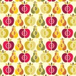 Vector seamless fruit pattern - apple and pear — Stock Vector