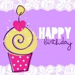 Cute happy birthday card with cupcake — Stock Vector