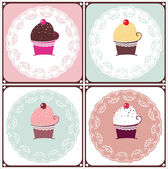 甘いケーキのセット — ストックベクタ