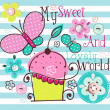 Charming Pattern With Cupcake - Vettoriali Stock 