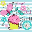 Charming Pattern With Cupcake - Grafika wektorowa