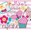 Charming Pattern With Cupcake - Image vectorielle