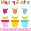 Easter background with flowers - Stock Vector