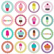 Set of ice cream and cupcakes background - Stock Vector