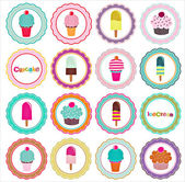 Set of ice cream and cupcakes background — Stock Vector