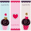 Set of cupcake cards template - Stok Vektör