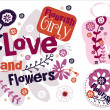 Love and Flowers. Vector Labels - Stock Vector