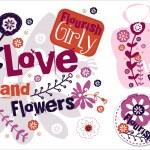 amore e fiori. etichette vettoriale — Vettoriale Stock