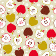 Seamless cute retro apple pattern — Stock Vector
