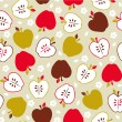 Seamless cute retro apple pattern — Stock Vector #23205562