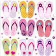 Stock vektor: Vector flip flops collection