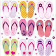 图库矢量图片: Vector flip flops collection