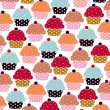 Cupcakes sweets seamless doodle vector pattern — Stock Vector