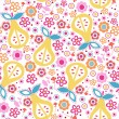 Seamless pattern with flowers and pears — Stock Vector