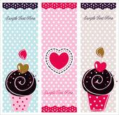 Set of cupcake cards template — Stock Vector