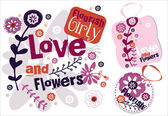 Love and Flowers. Vector Labels — Stock Vector