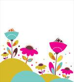 Cute vector flowers illustration — Stock Vector