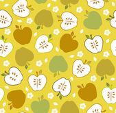 シームレスなかわいいレトロなアップルのパターン — ストックベクタ