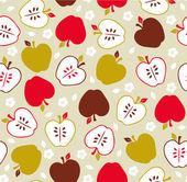 Seamless cute retro apple pattern — Stock Vector