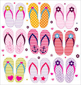 Vector flip flops collection — Stockvektor
