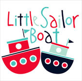 Little sailor boats — Stok Vektör