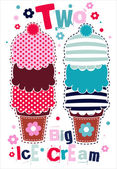 Two retro stylized big ice cream — Stock Vector