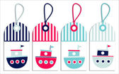 Nautical tags - sailor boats. — Stock Vector
