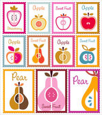 Collection of fruit post stamps — Stock Vector