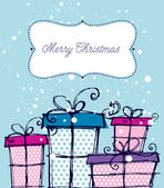 Christmas hand drawn gift boxes — Stock Vector