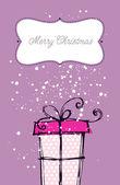 Christmas hand drawn gift box — Stock Vector
