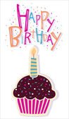 Birthday cupcake with candle — Stock Vector
