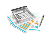 3d illustration: calculator, pen and papers. Accounting analysis — Fotografia Stock