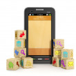 3d Illustration: Wooden icons and mobile phone. Creating a manuf — Stock Photo #12140090